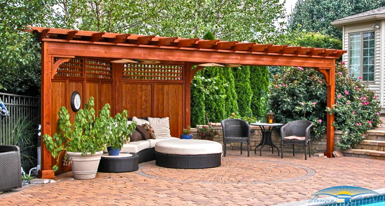 تنسيق حدائق الكويت  Outdoor-living-pergola-custom-triangle-wood-traditional